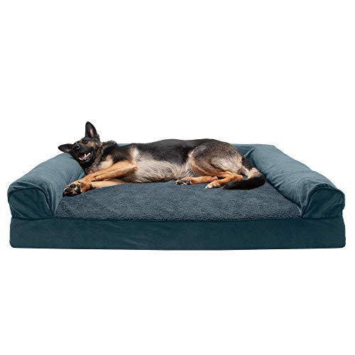 Furhaven Pet Dog Bed | Cooling Gel Memory Foam Orthopedic Faux Fleece & Chenille Sofa-Style Couch Pet Bed for Dogs & Cats, Orion Blue, Jumbo Plus