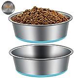 Edelstahl Hundenapf mit Rutschfester Gummibasis,VIKEDI 2 Stück rutschfest Hundenäpfe, Edelstahlnapf Napfset für Futter oder Wasser, Perfekte Haustier Futternapf für Mittelgroße Kleine Größe Hunde