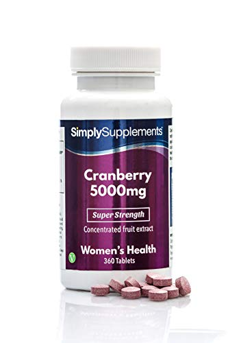 Cranberry 5000mg Tablets | High Strength Cranberry Extract | Vegan & Vegetarian Friendly | Now with Vitamin C for Immune Support | 360 Tablets = Up to 12 Month Supply | Manufactured in The UK