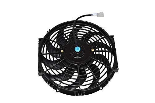 "A-Team Performance 170071 12"" Radiator Electric Cooling Fan Car Transmission Cooler Heavy Duty 10 Curved Blades 12V 1400 CFM Reversible Push or Pull with Mounting Kit Black 12 Inches"