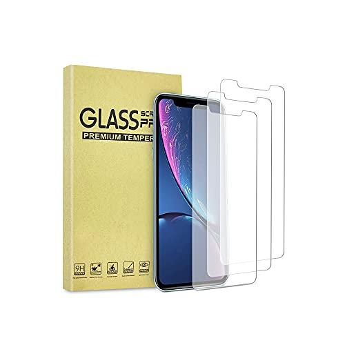 JIMBO 3 Pezzi [Compatibile con iPhone 11] iPhone XR, Pellicola Proteggi Schermo Curvo in Vetro temperato di Ultima Generazione, Installazione Facile, HD Chiaro [2021] Protettiva [Protezione Completa]