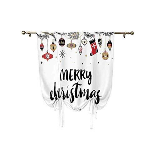 Paneles de cortinas navideñas, cita de Feliz Navidad con pincel, letras creativas de Noel, impresión inspiradora térmica, globos romanos, 45 x 63 pulgadas, para ventanas pequeñas/cocinas