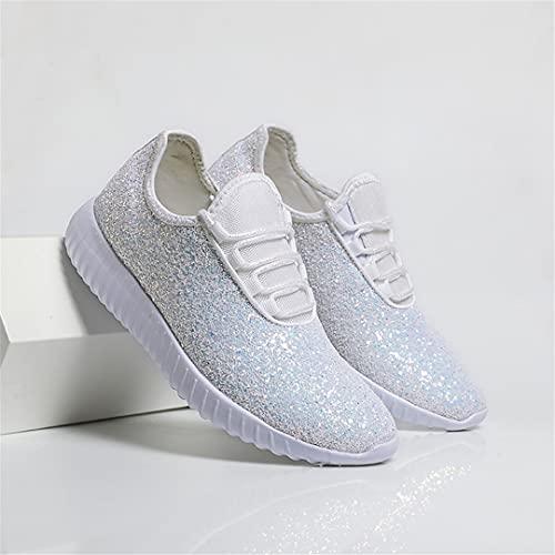 Oceansee Zapatos de Verano para Mujer Glitter Zapatillas de Deporte de Lujo para Mujer Zapatos Deportivos de Mujer Red Plata Pink Black Tennis Vulcanize Zapatos White 40