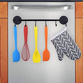 LEVOSHUA 6 Hooks Magnetic Utensil Holder Untensil Rack Tool Hanger Organizer for Refrigerator Metal Cabinet Metal Stove Grill BBQ
