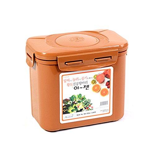 E-Jen Premium Kimchi, Sauerkraut Container Probiotic Fermentation with Inner Vacuum Lid (Earthenware Brown, 0.9 gal/ 3.4L)