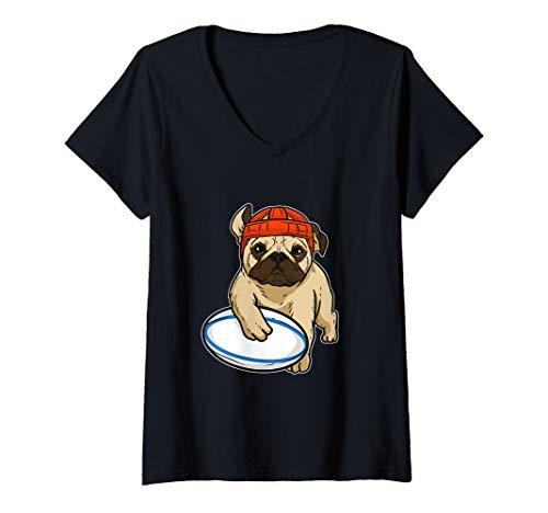 Damen Süßer Mops beim Rugby Hunde Liebhaber Rugby Spieler Kostüm T-Shirt mit V-Ausschnitt
