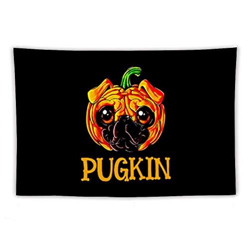 AOOEDM Tapiz para Colgar en la Pared, Pugkin Funny Pug Pumpkin para Halloween Tapiz de Pared con Art Nature Decoraciones para el hogar para la Sala de Estar Dormitorio Decoración del Dormitorio