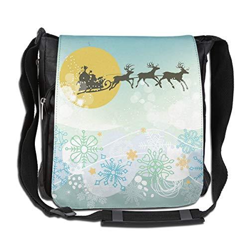 Doinh Kuriertasche mit Weihnachtsmann und Schlitten-Silhouette aus Leinen, schräg, für Damen und Herren geeignet