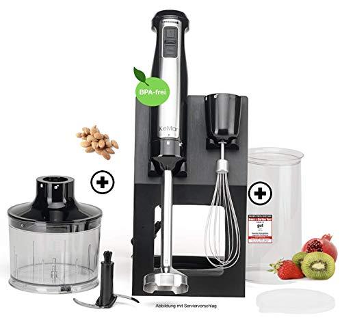 KeMar Kitchenware KSM-800 Basis Stabmixer Set, Edelstahldesign, 800W, Titan Klinge, Turbotaste, Ständer, inkl. Zubehör