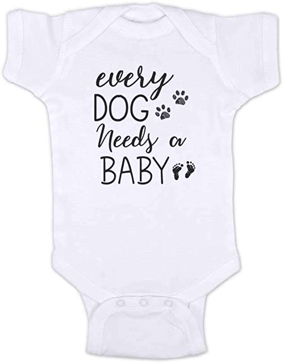 Funny Baby Clothes Baby Shower Gift Every Dog needs a Baby One-piece Bodysuit Dog Lover Gift Fur Baby Romper