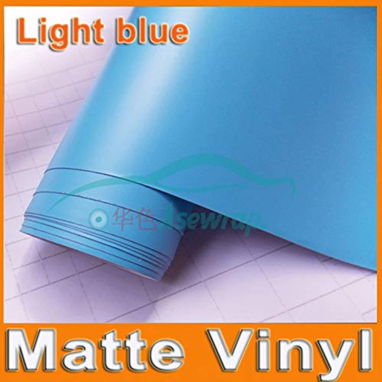High Quality Light blueee Matte Vinyl Wrap with Air Release Black decorationWrap Film car Sticker  (color Name  blueee, Size  30m)