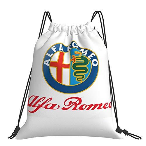 Al-Fa Romeo bolsa de cordón para adultos impermeable mochila de cuerda de deportes bolsas de gimnasio bolsas ligero bolsa de PE para mujeres hombres