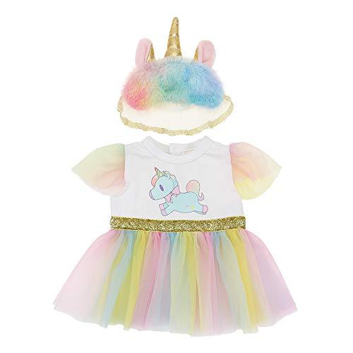 WENTS Ropa para Muñeca Vestido 2PCS Ropa de Muñecas para New Born Baby Doll Unicornio Vestidos para Muñeca Hechos para Muñecas de 18 Pulgadas