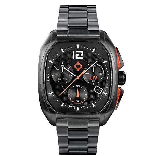 LIV Rebel-DDC スイス製 アナログディスプレイ クロノグラフ カジュアル 長方形腕時計 メンズ 40 x 49 mmケース 日付カレンダー付き 330フィート防水 限定生産 クラシックブラックラバーブレスレット ブラック