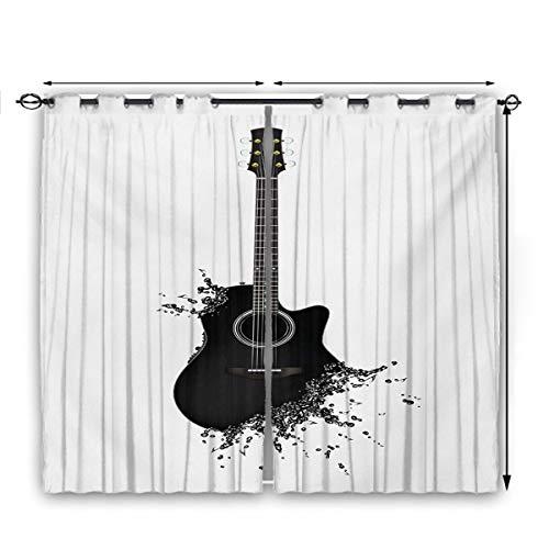 Guitar Kitchen Curtain Monochrome Musical Instrument with Strings Acoustic Color Splashes Creative Outlet SlidingDarkeningCurtains W63 x L45 Black White