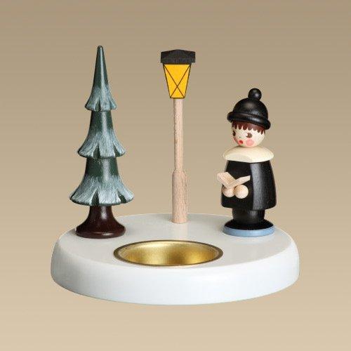 Rudolphs Schatzkiste Kerzenhalter Kurrendesänger schwarz Höhe ca. 10,5cm NEU Kerzenständer Kerzenleuchter Weihnachten Schneeball Figur Seiffen Erzgebirge Holz Winterdeko Tischdeko Dekoration