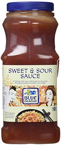 Blue Dragon - Salsa Oriental Agridulce, Salsa Wok con Piña, Pimientos y Ciruelas, Sin MSG, Apto para celíacos - 1 litro