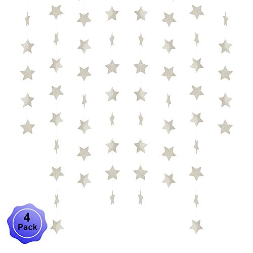Star Banner Garland Decorations Stars Paper Birthday Party Banner Twinkle Hanging Bunting Banner Gold Glitter Sparkling Star Garland For Wedding Christmas Halloween Photo Booth Props Silver 4 Pack