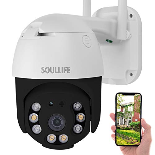 Outdoor Security Camera, SoulLife 1080P Pan Tilt WiFi Camera, Waterproof IP Dome Camera with Two Way Audio Color Night Vision Motion Detective Black