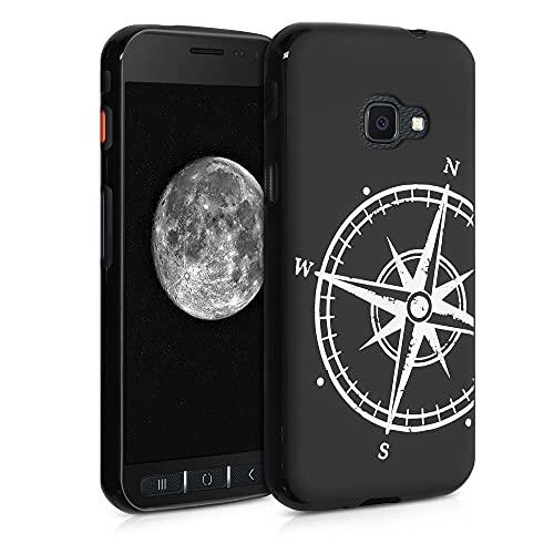 kwmobile Cover Compatibile con Samsung Galaxy Xcover 4 / 4S - Custodia in Silicone TPU - Cover Protettiva Soft Case - Bussola Legno Bianco/Nero