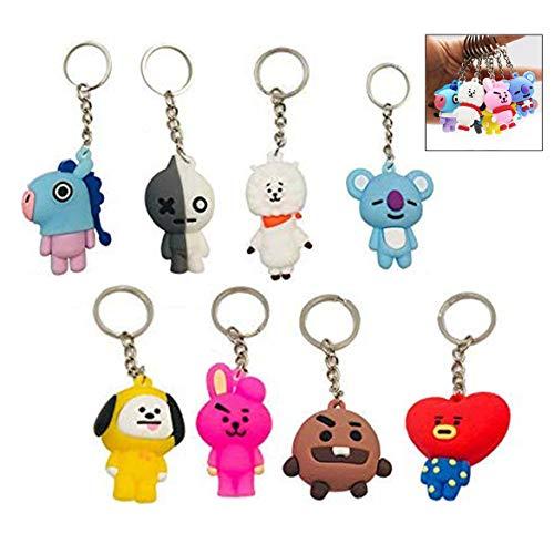 Jzhen 8 Pièces Kpop BTS Dessin Animé Porte-clés, Porte-clés Décoration Mignon pour Porte-Monnaie