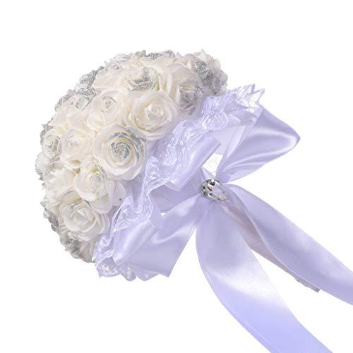 Ramos de Flores Artificiales Boda Ramo Ramo Cristal Rosa Perla Dama de Honor Boda Novia Flor de Seda Artificial para decoración del hogar o Bodas SomeoLiky