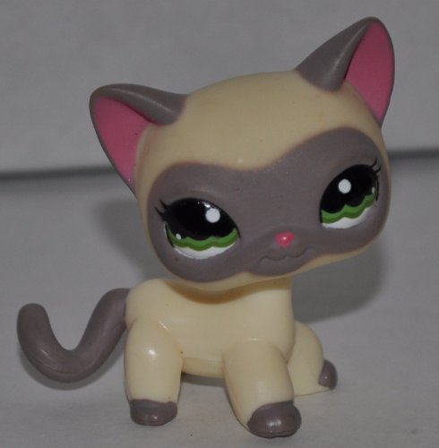 Shorthair Masked Kitten #1116 (Cream, Green Eyes, Gray Ears/Face/Tail/Paws, Pink inside ears) - Littlest Pet Shop (Retired) Collector Toy - LPS Collectible Replacement Single Figure - Loose (OOP Out of Package & Print)
