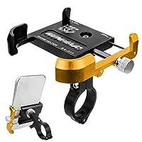 スマホホルダー 自転車 アルミニウム合金自転車携帯電話ホルダーマウンテンバイクロード自転車用に360°回転調整可能 自転車用 スマートフォン マウント スタンド (Size:Free Size; Color:Black + Gold)
