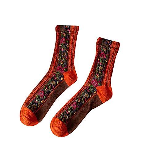 Hunpta@ Damen Stricken Socken Retro Blumenmuster Frauen Winter Warm Atmungsaktivität Mode Dicke Mittelstrumpf
