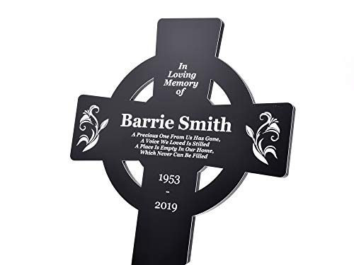 OriginDesigned Large Personalised Celtic Cross Shaped Memorial, Grave Marker - Engraved Black and White Outdoor Acrylic