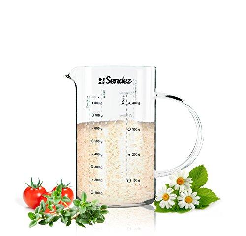 Sendez® Messbecher 1L aus Borosikatglas Messkanne Dosierhilfe Literbecher Küchenhelfer Messbehälter