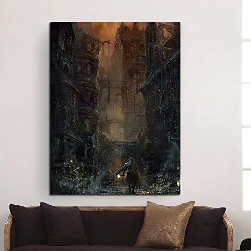 Magische gotische Burg Leinwand Wandkunst Wandbild Schlafzimmer Wohnzimmer Dekoration Tapete,Rahmenlose Malerei,75x100cm