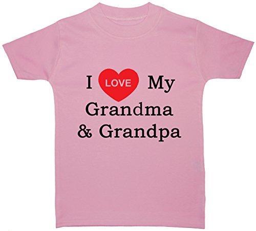 Acce Products I Love My Grandma & Grandpa bébé/Enfants/Tops t-Shirts 0 à 5 Ans - Rose - Petit