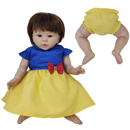 Vestido + Calcinha de Princesas Para Bebê Reborn Roupas de Bonecas Amarelo e Azul