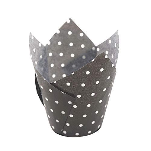 bjlongyi 50pcs Tulip Baking Cups Cupcake Muffin Paper Cup Liner for Weddings, Birthdays Dots Pattern Black