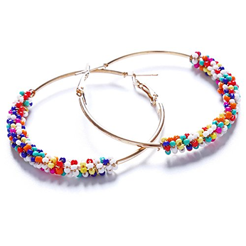 Beiswin Style Bohème Hoop Boucles D'oreilles Ethnique Vintage Or Couleur Multicolore Perle Déclaration Boucles D'oreilles Bijoux Pour Femmes
