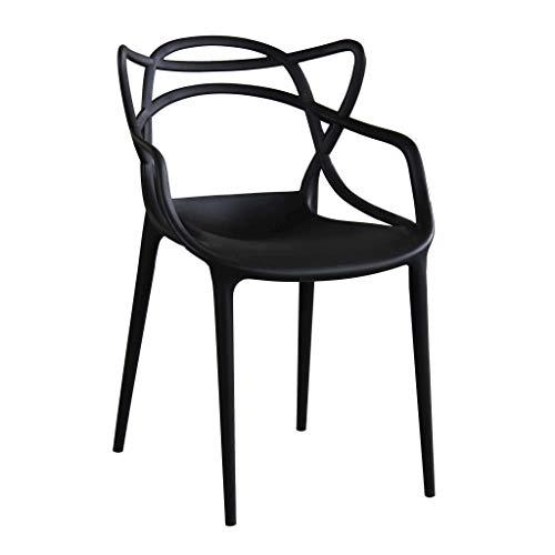 Milani Home s.r.l.s. Sedia in Polipropilene Plastica Nera di Alta qualità di Design per Interno E Giardino Stile Moderno per Sala da Pranzo, Cucina