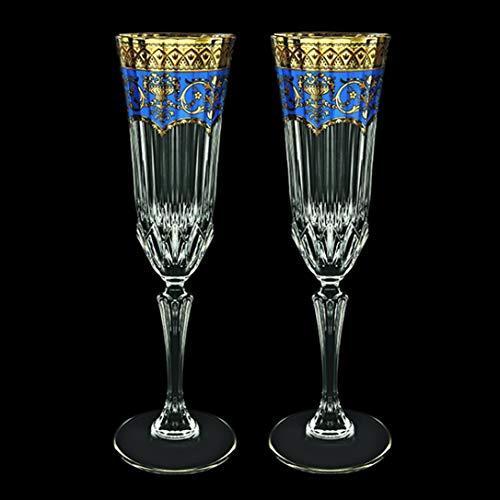 Bohemia - Copas de champán (2 unidades, 180 ml, hechas a mano), color azul y dorado