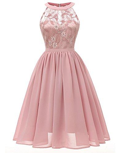 Viloree Damen Neckholder Floral Spitze Brautjungfern Partykleid Ärmellos Cocktail Kleid Rosa 2XL