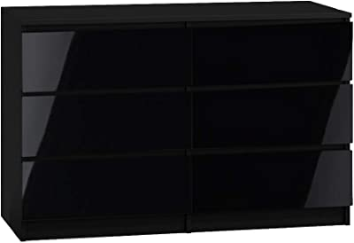 Black Gloss Chest of 6 Drawers. Black Gloss Bedroom Furniture. Large Size : 120cm wide.