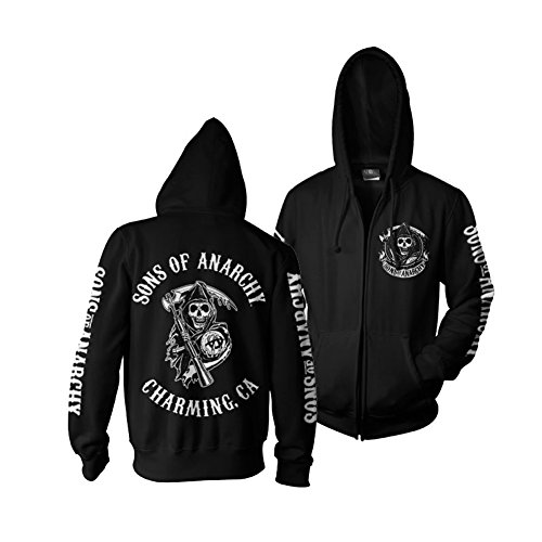 Sons of Anarchy SOA Full CA Backprint Reißverschluss Kapuzenpullover (Schwarz), Small