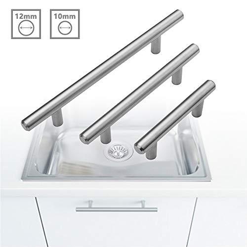 HENGMEI 20 Stück Möbelgriff Küchengriff Stangengriff Relinggriffe Küchenschrank Türgriff aus Edelstahl Ø 10 mm, 128 mm