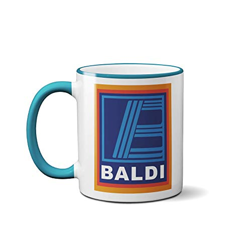 Baldi Mug - Funny Novelty Supermarket Bald Mens Hilarious Cup Coffee Tea Dads (Light Blue Handle)
