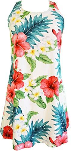 RJC Women's Journey to Hana Tropical Hawaiian A-line Back Cutout with Tie Rayon Aloha Dress White Medium