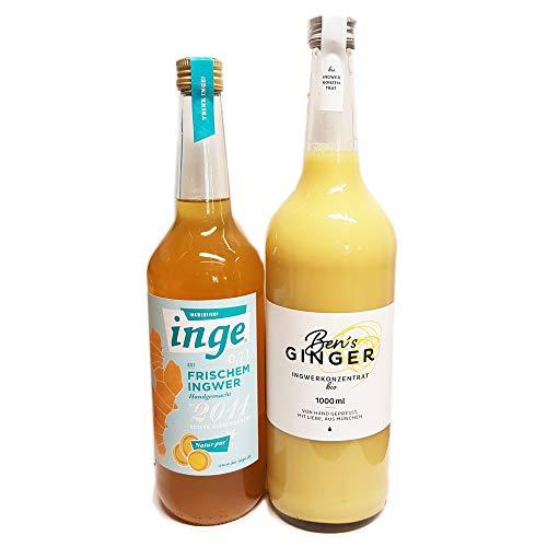 Probierset mit 1 Liter BIO Ben's Ginger - BIO Ingwerkonzentrat - (DE-ÖKO-037) und 0,7 Liter Inge Ingwersirup aus frischem Ingwer, unbehandelte Zitronen und Orangen handgemacht