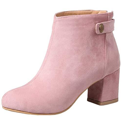 Onewus Damen Kurzschaft Stiefel mit Blockabsatz (Rosa, 37 EU)