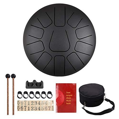 InLoveArts Hang Drum Instrumento, Tambor de Lengua de Acero 10 Pulgadas, 11 Notas Tambor Handpan Instrumento de Percusión Incluye Baquetas de Goma, Libro de Música, Yemas de Los Dedos y Bolsa