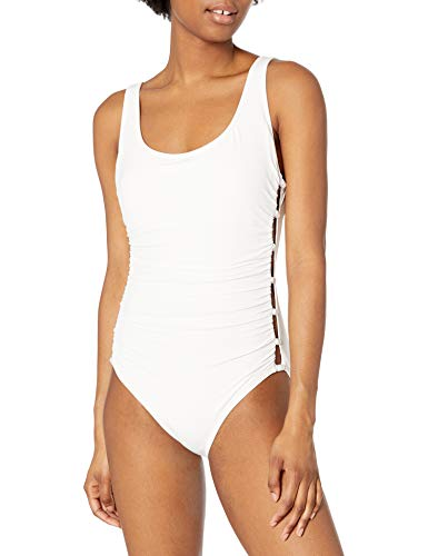 Carmen Marc Valvo Women's Scoop Neck One Piece Swimsuit with Side Beading Detail, White, 6