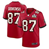 QWRE Camiseta de fútbol americano Rob Gronkowski #87 Tampa Bay Fútbol al aire libre de manga corta Bucaneers Alternate Limited Super Bowl Jersey - Rojo
