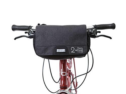 Two Wheel Gear Bike Handlebar Bag – Water Resistant with Quick Release and Reflective Details, Everyday Commuter Shoulder Sling Messenger Bag with Rain Cover Included, Graphite Grey, 6L